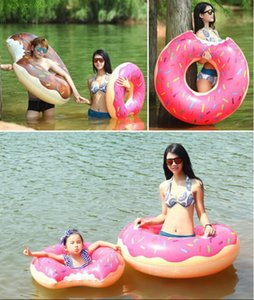 Moda Yeni Noel 80cm Dev Donut Yüzme Float Şişme Yüzme Ring Çocuk Havuzu Şamandıralar 2 Renk Ücretsiz By DHL