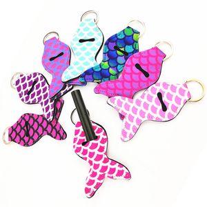 1pc Mermaid Tail Girl Lipstick Keychains Neoprene Chapstick Cover Holder Sleeve Keychain Key Ring Key Chain Women Gifts
