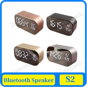 AS2 Bluetooth Hoparlör Kablosuz LED Ekran Dijital Çalar Saat subwoofer Stereo Hoparlör Destek FM Radyo / / TF Kart Ayna AUX-in