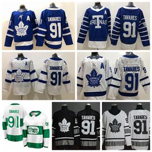 2019 Toronto St. Pats John Tavares Camisolas De Hóquei Em Casa Estádio Série Toronto Maple Leafs 91 John Tavares Costurado Camisas De Hóquei Um Remendo