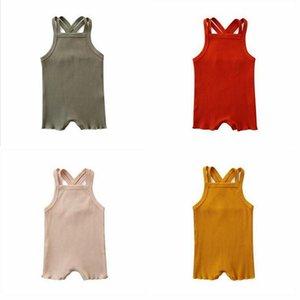 Детские Дизайнерская одежда Детская Твердая Suspender Romers Летние безрукавки Комбинезоны Мальчики Девочки Комбинезоны Bodysuits Младенец лазания Одежда D886