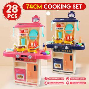 28pcs I bambini Finta Play Simulazione Kitchen Set Cuoco Gioco miniatura Alimentazione Mini Stoviglie Spray giocattolo della luce bambini regalo Y200428
