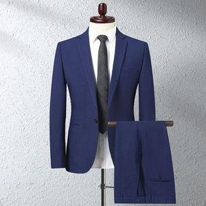 Men Wedding Suit Luxury Male Blazers Slim Fit Men Business Formal Party Blue Black Tuxedo Mens Suits Jacket + Pants