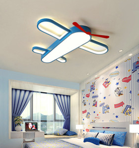 Children's room LED ceiling lamp Warm cartoon airplane bedroom boys and girls room lighting eye protection dimming wrought iron lamps