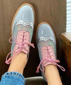 chaussures simples 2020 nouvelles chaussures femmes grande taille de ceinture mince de tête ronde paillettes de correspondance des couleurs de Brock
