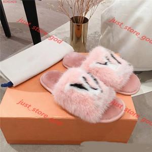 Louis Vuitton flip flop Vison plat femmes Pantoufles avec fourrure, douce Suite plat Mulets Dreamy chaussons pour femmes Rose Noir Homey Chaussures xshfbcl