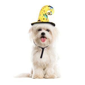 الحيوانات الأليفة قبعة الساحرة هالوين كرنفال الأصفر الكلب غطاء الرأس الحيوانات الأليفة مضحك زي قبعة الساحرة مهرجان لاللباس اكسسوارات