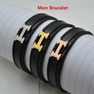 высокое качество Регулируемая длина кожаный мужской черный браслет промотирования нержавеющей стали браслеты для подарка Кристмас