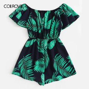 Tuta Colrovie Plus Off The Shoulder Tree Stampa Increspatura Boho Tuta Pagliaccetti Donna 2019 Estate Estate Maniche corte Vacanze Playsuits Y19071801