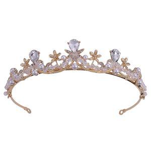 Pearl Rhinestone Diadem Headpiece Crystal Tiaras and Crowns Bridal Hair Jewelry Women Wedding Hair Accessories