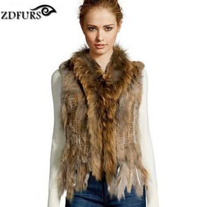 * ZDFURS lapin gilet collier de chien de fourrure de lapin tricoté de haute qualité vente chaude veste raton laveur fourrure tricotée fourrure gilet ZDKR-165005 V191029