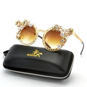 Colore Cat Donne Occhiali da sole con strass Intorno Femminile Eyewear fatto a mano di cristallo del diamante di vetro di Sun degli occhiali FML