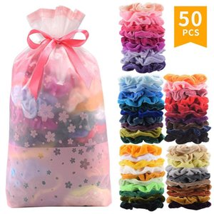 50 of you Velvet ties Scrunchies solid hair ring ties for girls ponytail holders elastic rubber band hair accessories
