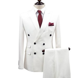 Slim Fit White Men Trajes Double Breasted Novio de la boda Use smokinges 2 piezas (chaqueta + pantalones) Novios trajes Best Man Prom Business Blazer