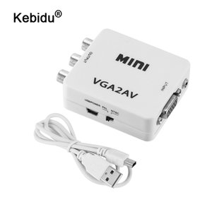 Cabos de áudio e vídeo digital Cabos kebidu HD Mini VGA para AV RCA Audio Converter VGA2AV adaptador / CVBS com 3,5 milímetros para PC para