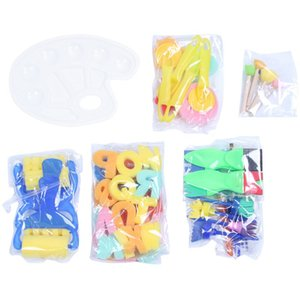 53 Pieces Sponge Paint Brushes Set Kids Early Learning Drawing Tools Sponge Brushes + Palette Paint Set for Art Crafts