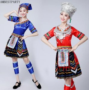New Dance Chinese Folk 2018 Costumes minoritaires Femme Tujia et Miao Danse Costume Vêtements ethnique Performance Stage AMBESTPARTY