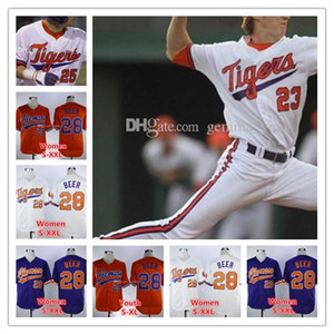 Personalizado Clemson Tigers NCAA Baseball 5 Sam Hall 4 Grayson Byrd 10 Kyle Wilkie 9 Greene 8 Logan Davidson 23 Carson Spires Sewn Jerseys