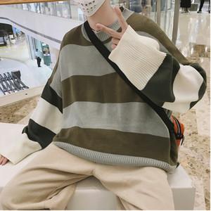 2018 Outono E Inverno Masculino Solto Rainbow Striped Sweater Em Torno Do Pescoço Pullover Camisola Jaqueta Maré Vermelho / Azul / Cáqui S-XL