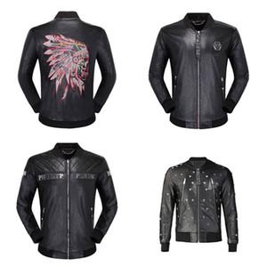 Bombacı Erkek Deri Ceket Sıcak Satış Günlük Moda Hip Hop Ceketler Erkek Uzun Kol Kafatası Yıldız Deri Katı Motosiklet Erkek ceketler Coats