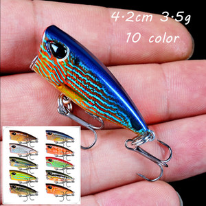 10 Color Popper Plastic Hard Baits & Lures 4.2CM 3.5G 10# Fishing Hooks Pesca Fishing Tackle KL_50