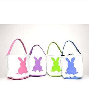 Ostern-Korb Kaninchen gedruckt Osterhase Geschenk-Taschen Häschenschwanz Toten Handtaschen Canvas Leinen Eimer Karikatur Speicher-Körbe GGA3192-3