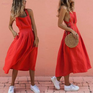 Mid Calf Fashion Women Ladies Solid Holiday Boho Strappy Slim Casual Long Dress Evening Party Club Summer Beach Sundress S Xl