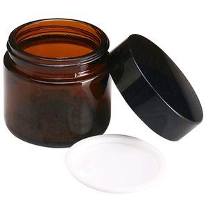 Brown cara de vidrio Crema Jar recargable de la botella redonda de maquillaje cosmético botella de loción de contenedor de almacenamiento tarros de Hogares 100 g Pomada BH2202 EJT