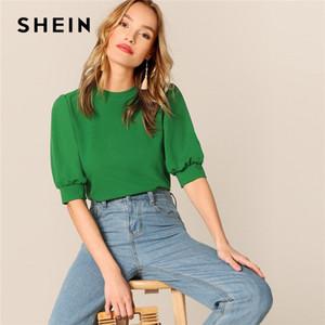 Shein signore casuali verde Puff Sleeve Keyhole Torna Solid Top e camicetta donne 2019 Estate Workwear mezza manica camicette eleganti