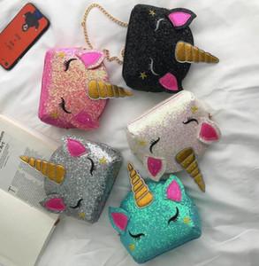 5 estilos Cadeia Unicorn ombro sacos do presente Bling Lantejoulas dos desenhos animados Crossbody Saco crianças Messenger Bag saco de moedas favor de partido BY1368