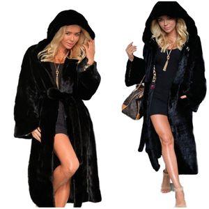 흑백 캐주얼 아시아 크기와 여자 겨울 코트 가짜 모피 단색 후드 재킷 푹신한 양털 긴 소매 모피 코트는 S-3XL을