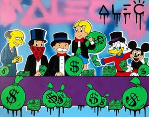 Alec Монополия Граффити Арт Декор стены Счетные деньги Home Decor расписанную HD Печать Картина маслом на холсте Wall Art Canvas картинки 91102