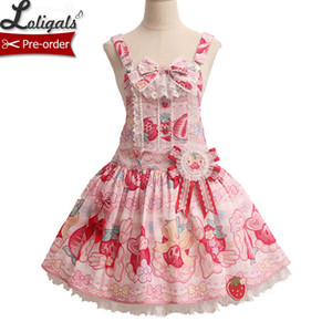 딸기 크림 ~ Alice Girl의 Sweet Printed Lolita Salopette Dress ~ 선주문