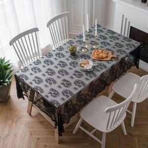 Tovaglia di pizzo elegante Tovaglia bianca nera Tovagliolo Tavolino da caffè Copertina per libri Asciugamano Tovaglie rettangolari