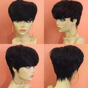 Pelucas peluca de pelo brasileña Pixie Cut peluca humana con la explosión corta barata del pelo humano para las mujeres Negro Bob Short frontal recta peluca de encaje