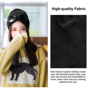 Double-Use Thickened Winter Knitted Hat Warm Beanies Skullies Ski Cap With Removable Glasses For Women Black Cycling Caps & Masks