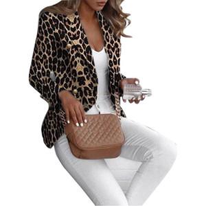 Женская мода дизайнер Blazer Leopard Printed LAPE шеи кардигана женщин куртки пальто Тонкий Отпечатано женщин Apperrel