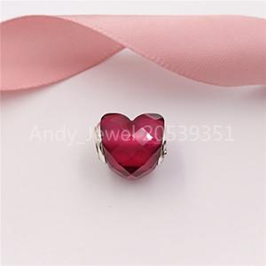 Authentique 925 perles en argent sterling forme Fuchsia de l'amour Charms Charm Collier bijoux européens Fits Pandora style Bracelets 796563NFR