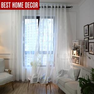 Cortina de tul transparente bordada de lino blanco de elka para sala de estar dormitorio cortinas de gasa blanca para ventana cortinas chinas