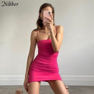 Nibber Neon red color bodycon pleated spaghetti strap mini dresses woman kpop harajuku street casual wear bar club pure dress T200707