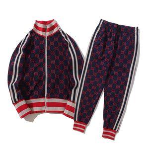 xshfbcl Mens Set lusso Mens Tracksuit Men progettista Suit Jackets + Pants Zipper Coat Black White Gray High Street Striped Kits
