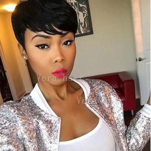 Pizzo anteriore umano parrucche parrucche 4 pollici diritta macchina Breve Blunt Cut Bob per Black Women brasiliano Remy capelli parrucche fatte
