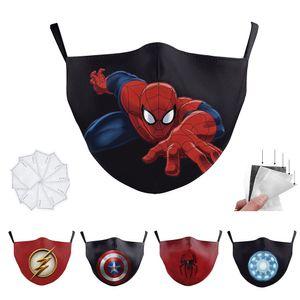 Filtro Ironman Batman Spiderman Thanos super-herói rosto de luxo designer de Adulto máscara máscaras Escudo Cosplay Partido reutilizável poeira à prova de vento de algodão