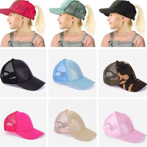 KIDS Glitter Ponytail Cap Messy Buns Trucker Baseball Cap Snapback Caps Casual Summer outdoor hat LJJK2354