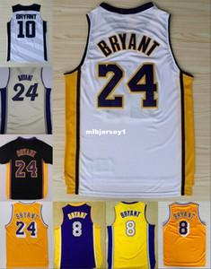 Ucuz # 24 K B forması Mor Sarı Beyaz Retro Basketbol Jersey Nakış Logolar Ncaa Koleji