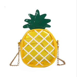 Baby Girls Bags Transparent Jelly Pineapple Messenger Bag Lovely Fruit Handbags Casual Chain Crossbody Bags Kids Brand Purse Free DHL