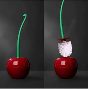 Criativa Adorável Forma de Cereja Vermelha Escova de Lavatório de Plástico Ferramenta de Limpeza Do Banheiro Decoração Titular Escova de Banheiro Conjunto de Acessórios Por Atacado