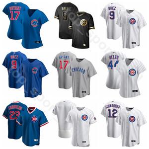 2020 Beyzbol Erkekler Kadınlar Gençlik 17 Kris Bryant Jersey 9 Javier Baez 44 Anthony Rizzo 12 Kyle Schwarber Jason Heyward Takımı Beyaz Mavi