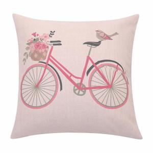venta al por mayor del amortiguador de la flor de la bicicleta cubierta de los pájaros del amor Lanzar Funda de almohada almohada cubierta de la cesta floral decorativo lino almohada del sofá Decoración