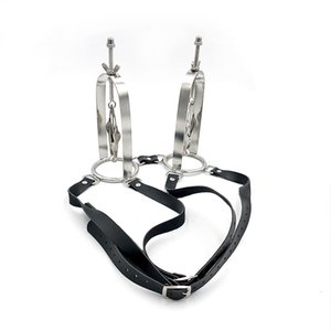 New Design Strap on Butterfly shape stainless Steel Nipple Breast clitoris Flirt clamps clip with support frame SM Bondage Women Sex Toys